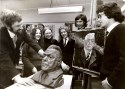 Head of Ellon Academy art  department Edi Swan with his clay bust of long serving Ellon Provost James R Davidson. 1972.