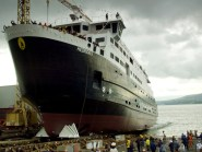 The MV Hebrides had 76 passengers on board when it hit harbour pontoons