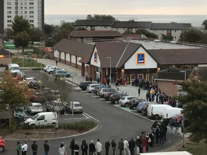 Hundreds queue for the opening of the new Aberdeen Aldi. Picture by Antony Ritchie
