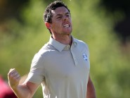 Rory McIlroy, pictured, and Thomas Pieters combined for nine birdies and an eagle to beat Dustin Johnson and Brooks Koepka