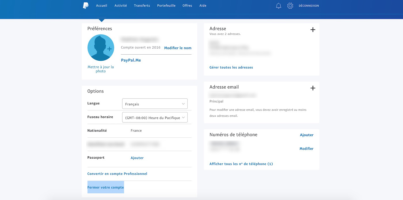 Fermer compte PayPal