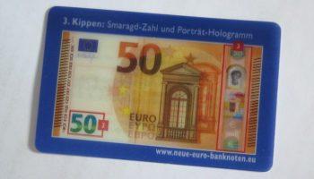 Wechselbild-Karte, Sicherheitsmerkmal ,50-Euro-Note,Falschgeld, Friedberg