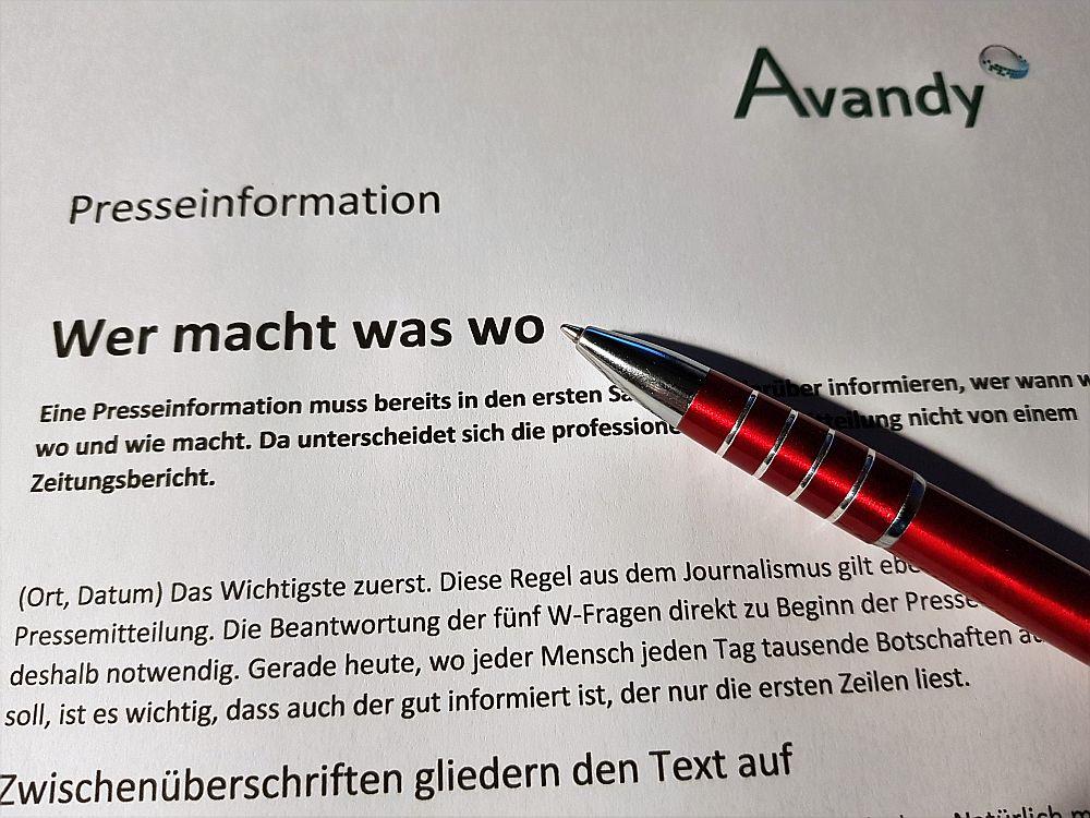 Das Schreiben von Presseinformationen ist ein Handwerk, in dem bestimmte Regeln gelten. (Foto: Markus Burgdorf/Avandy GmbH)