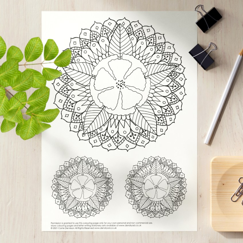 Get Creative: Free floral mandala colouring page