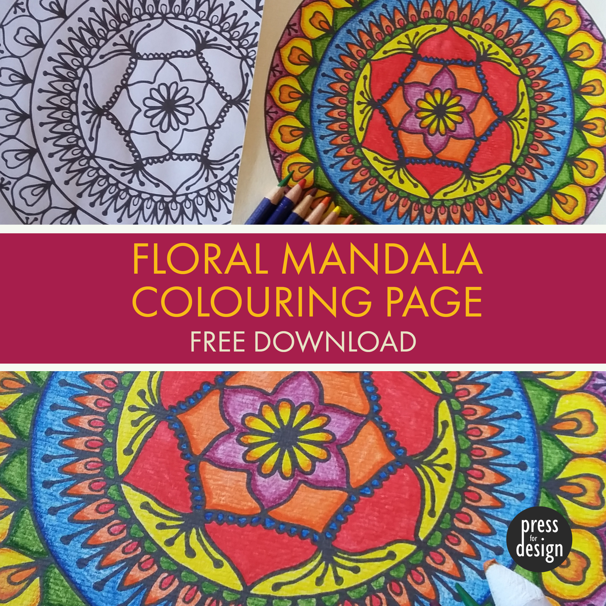 Crafty Download: Free Floral Mandala Colouring Page