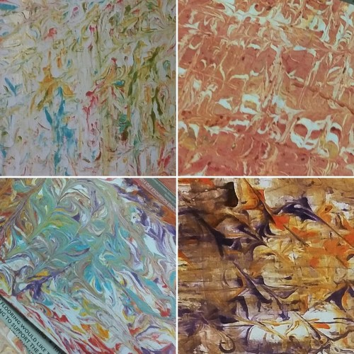 a selection of hand marbled papers