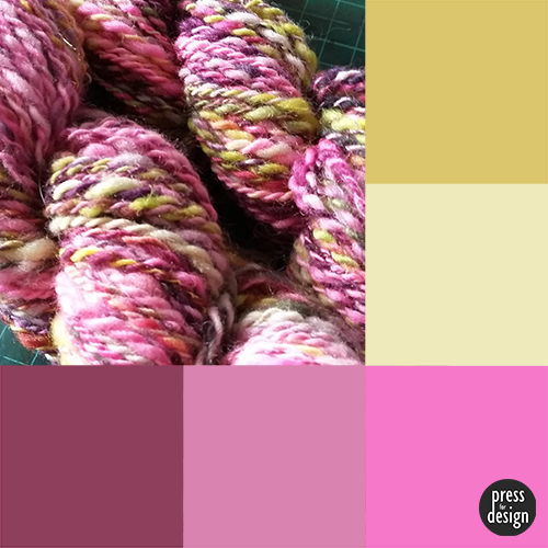 Hand spun yarn colour inspiration swatch