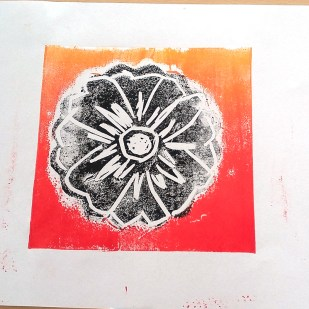 Lino print by community art workshop member