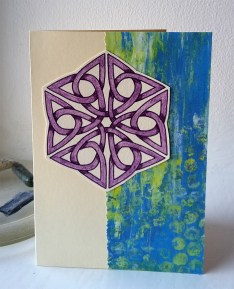 Greetings card using my free monoprinted background papers