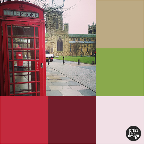 Telephone box at Durham Cathedral colour inspiration swatch