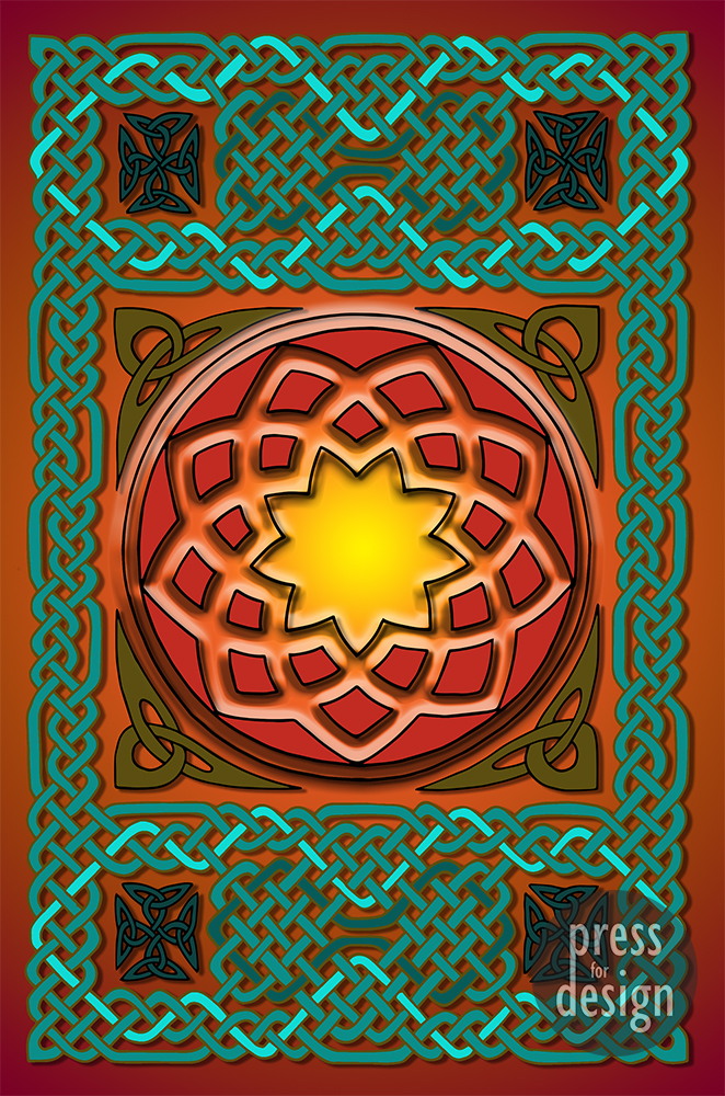 Celtic Knotwork Panel in Persian Green