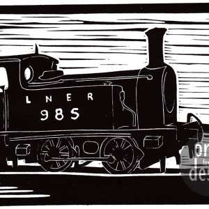 Beamish LNER 985 Engine lino print