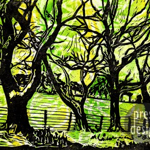 Trees Along the Wear Valley lino print