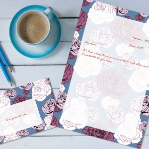 Dendryad Art - Falling Roses stationery set