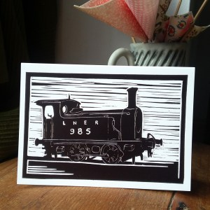 LNER 985 Steam Engine greetings card