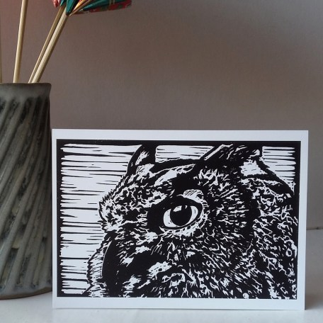 Oscar the Eagle Owl greetings card