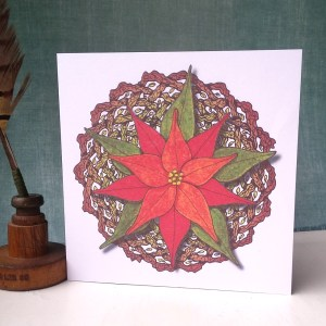 Poinsettia and Celric Wreath greetings card