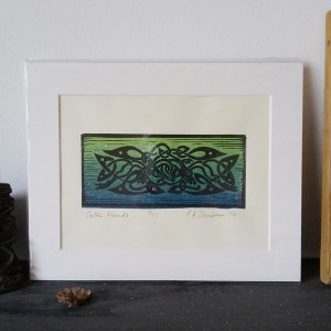 Celtic Hounds lino print