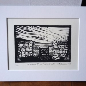 Milecastle 37 on Hadrian's Wall lino print