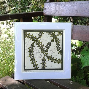 Tangled Thorns original lino print