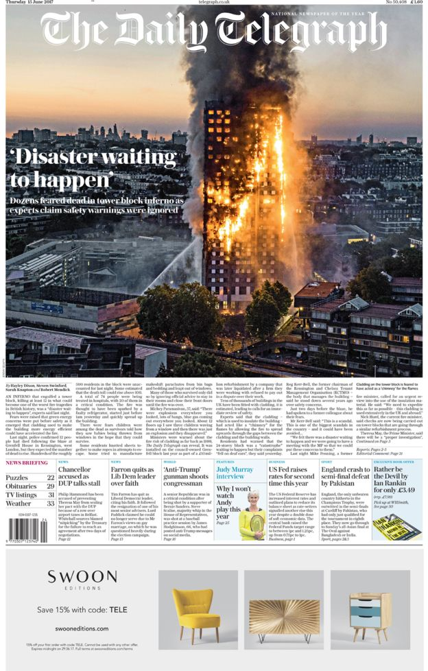 Image result for telegraph grenfell inferno front pages