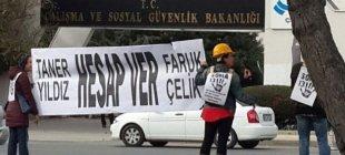 Enerji ve Çalışma Bakanlığı önünde Soma protestosu: 'Hesap Verin'