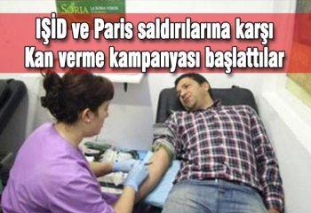 """IŞİD ve Paris saldırılarına karşı """"kan verme kampanyası"""""""