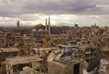 Savaşın harabeye çevirdiği şehir Humus'un havadan görüntüleri