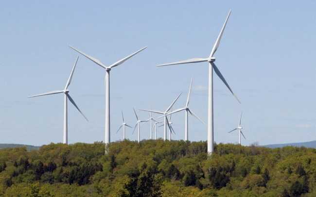 Wind turbines at SunEdison's Stetson wind farm in Washington County near Danforth. The company has reached agreement on a $2.5 million conservation program, forged after Friends of Maine Mountains dropped opposition this year to a 56-turbine wind farm in Bingham.