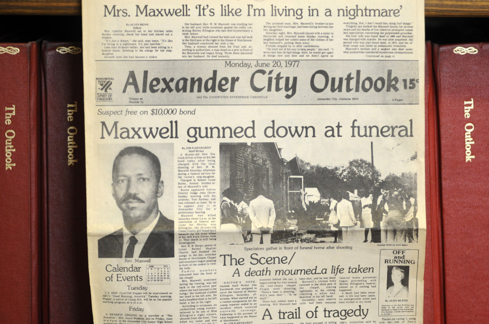 """This photograph shows the front page of the town newspaper following the slaying of Willie Maxwell in 1977. """"To Kill a Mockingbird"""" author Harper Lee researched his slaying and a string of other killings, but no book was ever published."""