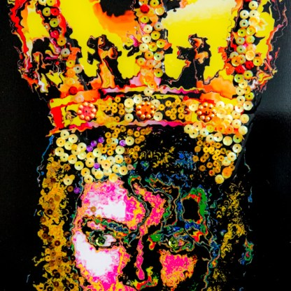 Michael Jackson mixed media on wood eyes with sapphires 365 x 215 cm 2020-1