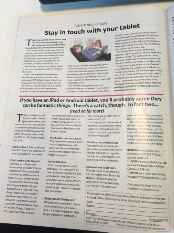 helpful book company advertorial in Saga magazine