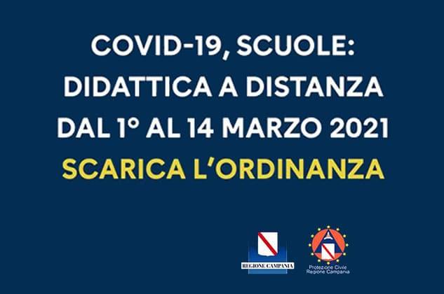 Campania: da lunedì scuole chiuse. Confermatala DAD dal 1° al 14 marzo. Emanata l'ordinanza n. 6 del 27 febbraio 2021