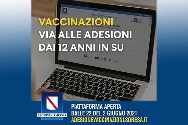 E' attiva la piattaforma telematica per le adesioni al piano vaccinale dai 12 anni in su. Ecco il Link per la registrazione