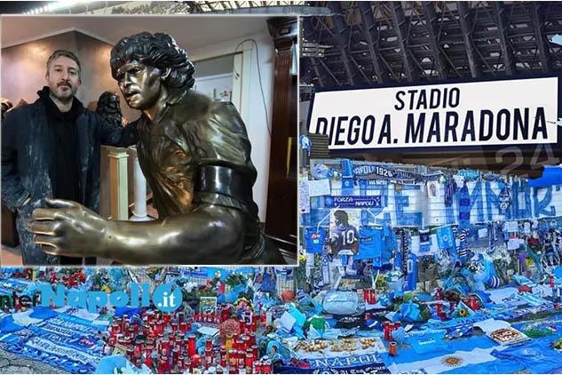 """Napoli, il 29 luglio l'inaugurazione dello stadio Diego Armando Maradona: sarà scoperta la statua per """"D10S"""" donata alla città di Napoli dall'artista Domenico Sepe"""