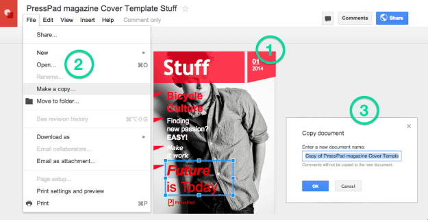 Google Docs Magazine Cover Temoplate - how to use