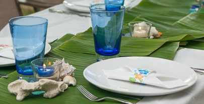 How to set up a quick tropical beach themed table