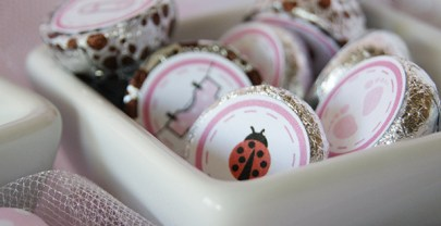 Baby Girl Pink and White Polka dots Baby Shower Printables with Lady Bugs