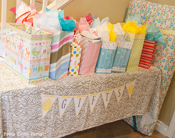 Baby shower gift table diabetesmangfo a sunny baby shower in yellow and gray press print party baby shower negle Gallery