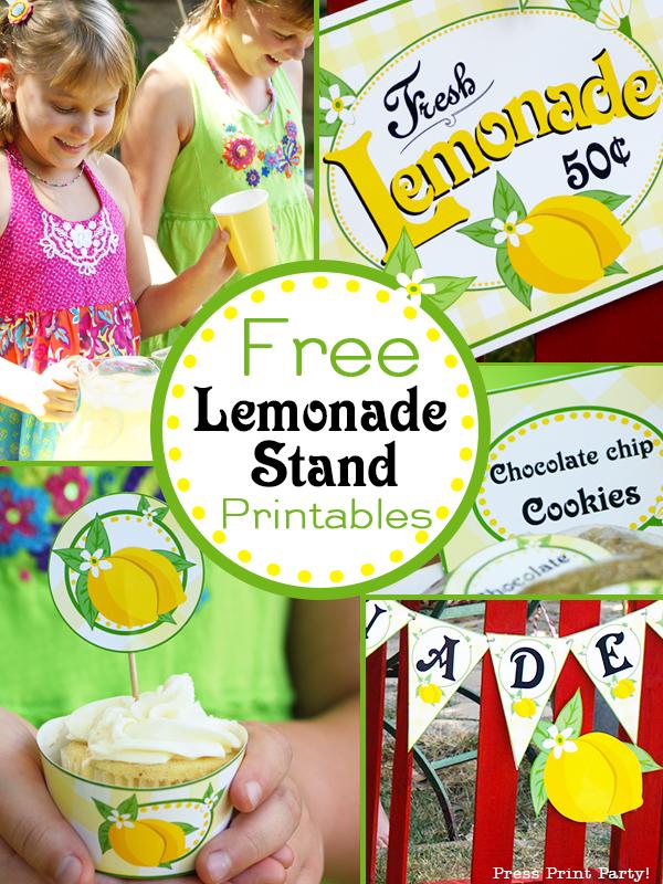 Free Lemonade Stand Printables - Press Print Party! Lemonade Sign Kids