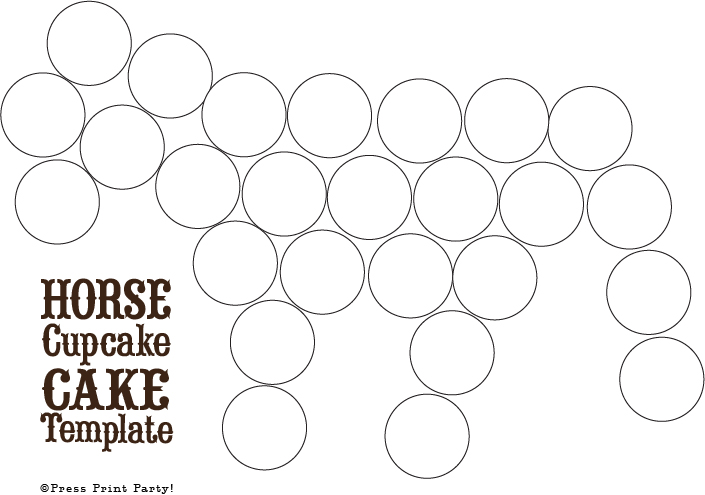 Cupcake Template Design : Horse Cupcake Cake How To - by Press Print Party
