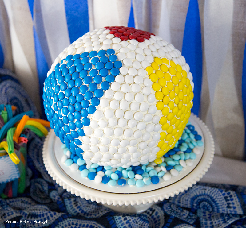 Pool Party Beach Ball Birthday Bash - Ideas and decorations by Press Print Party! Beach Ball Cake