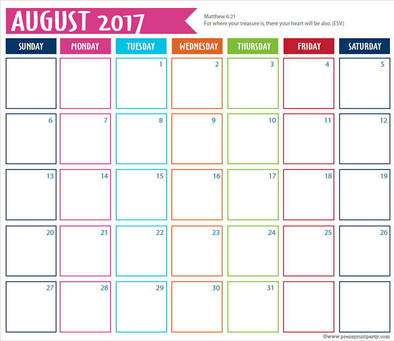 Free 2017 Calendar Printable For Bullet Journals - Press Print Party!