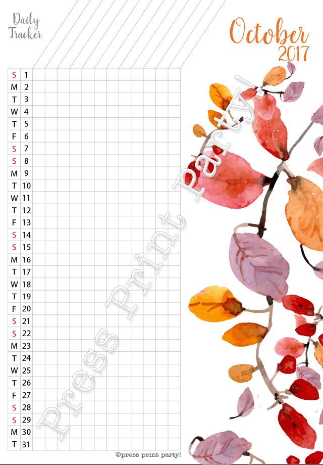 2017 Daily Task Tracker for Bullet Journals - October - Watercolors - by Press Print Party!
