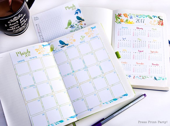 2017 Calendar Printable set for Bullet Journals - Vibrant Watercolors - By Press Print Party! Complete with daily task traker and mini at-a-glance calendar