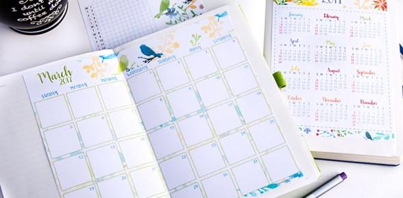 2017 Calendar Set Printable for Bullet Journals – Watercolor Designs