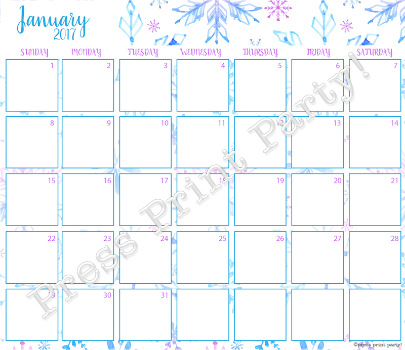 2017 Calendar Printable for Bullet Journals - Vibrant Watercolors - By Press Print Party! January 2017