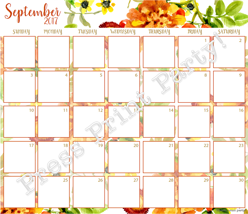 2017 Calendar Printable for Bullet Journals - Vibrant Watercolors - By Press Print Party! SEptember 2017