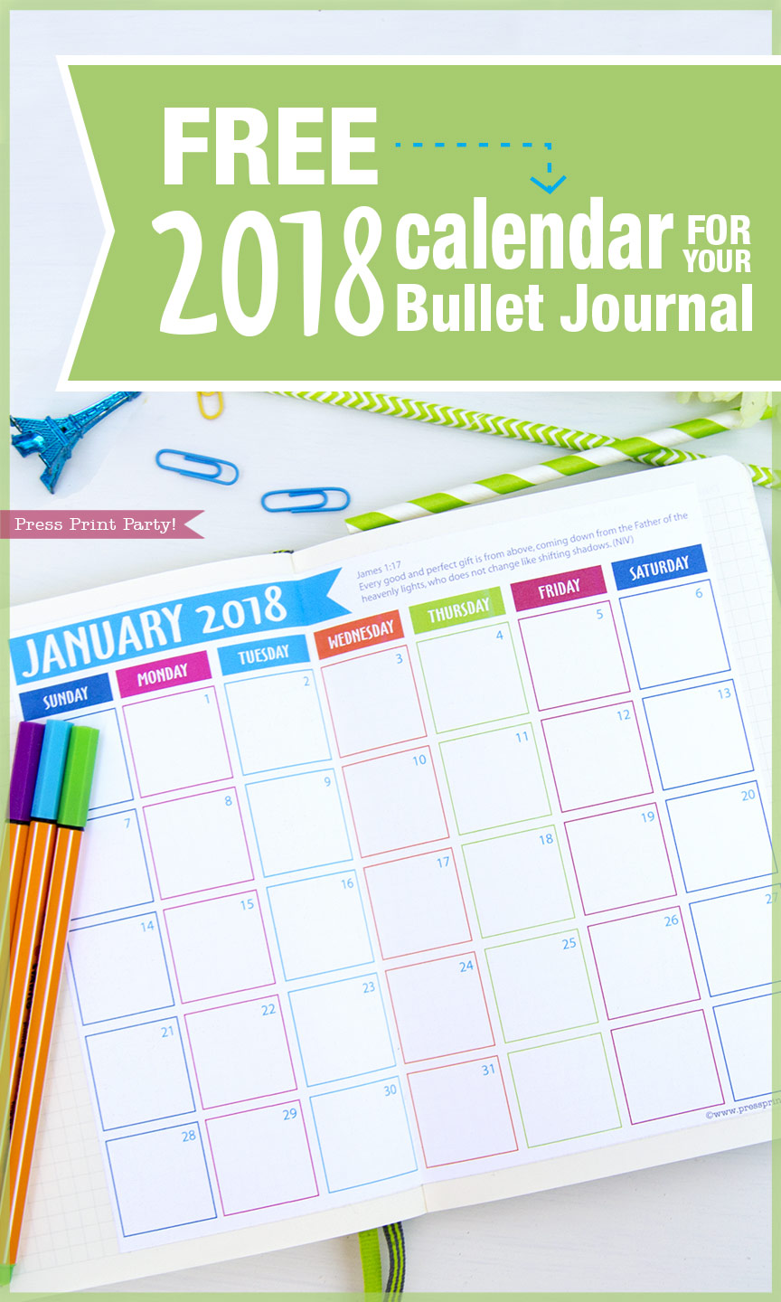 FREE 2018 Calendar For You Bullet Journal By Press Print