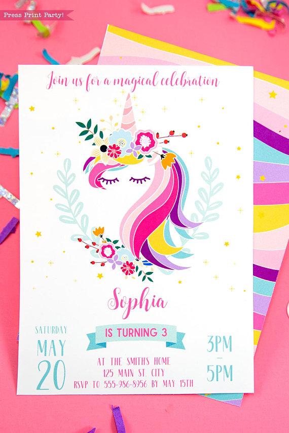 unicorn birthday party printable set